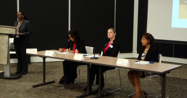 Speakers at the Career Development Workshop: (from left to right) Dr. Dorothy Kirkman, Dr. Ivone Bruno, Dr. Kathryn Peek, and Dr. Patricia Yarbough.