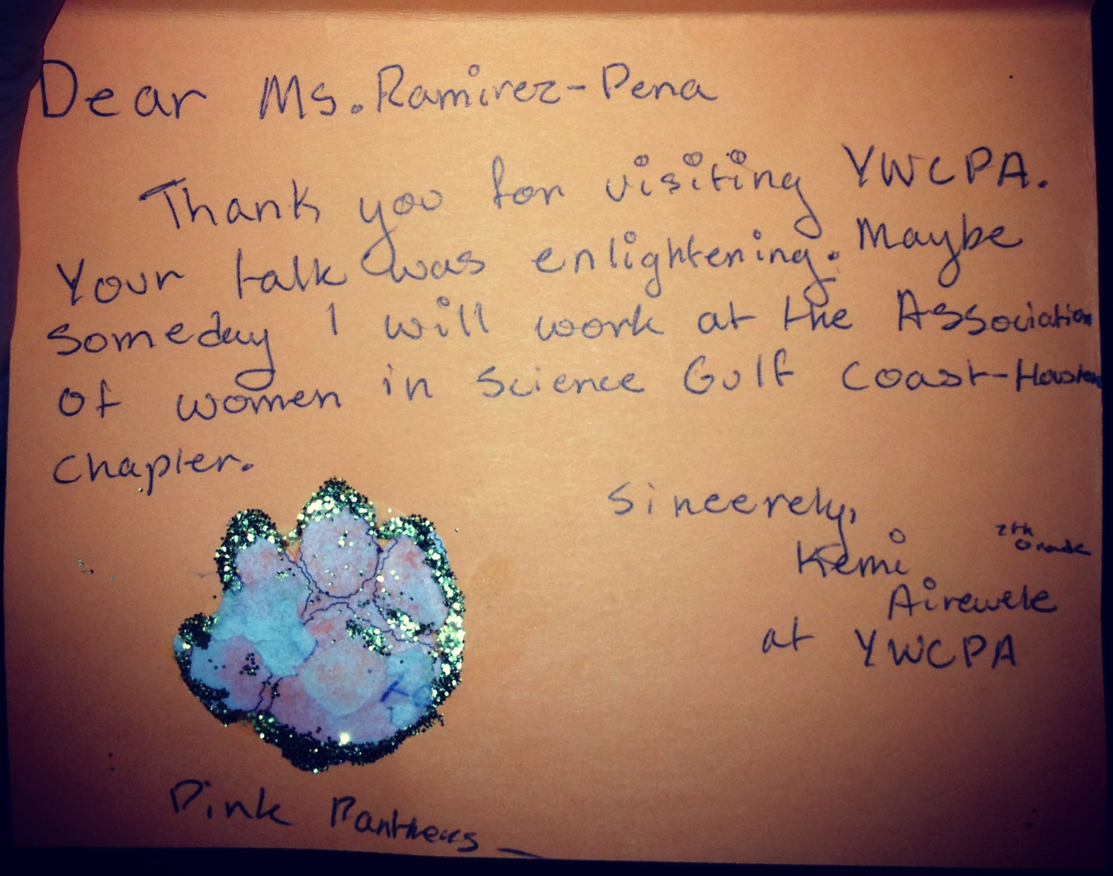 Ywcap Thank You Note