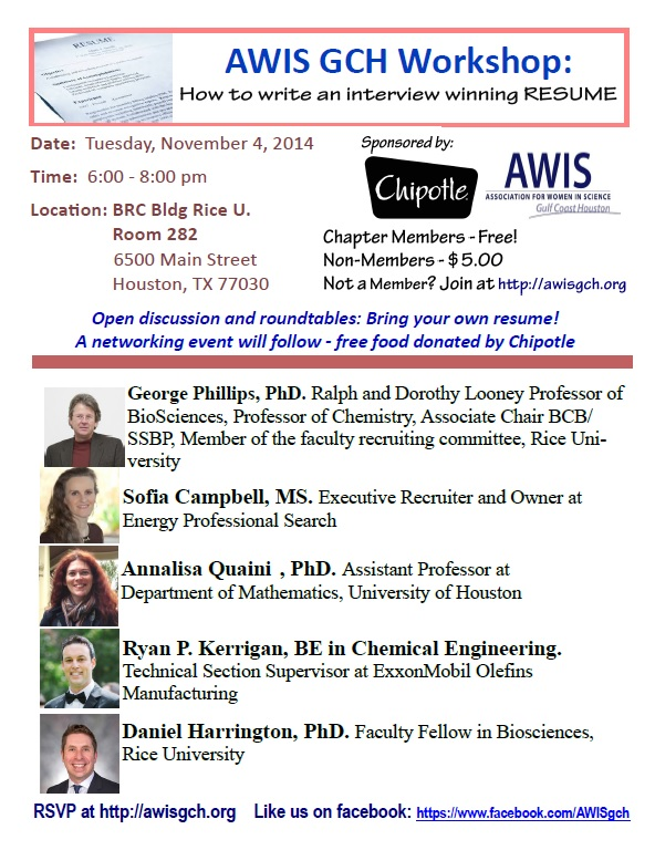 AWIS GCH Career Development Event November 4, 2014 \