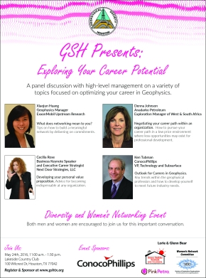 Geophysical Society of Houston: May 24th-Luncheon: Exploring Your Career Potential – Diversity and Women's NetworkingEvent