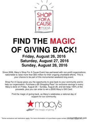 Macy's Shop for a Cause Benefiting AWISGCH!