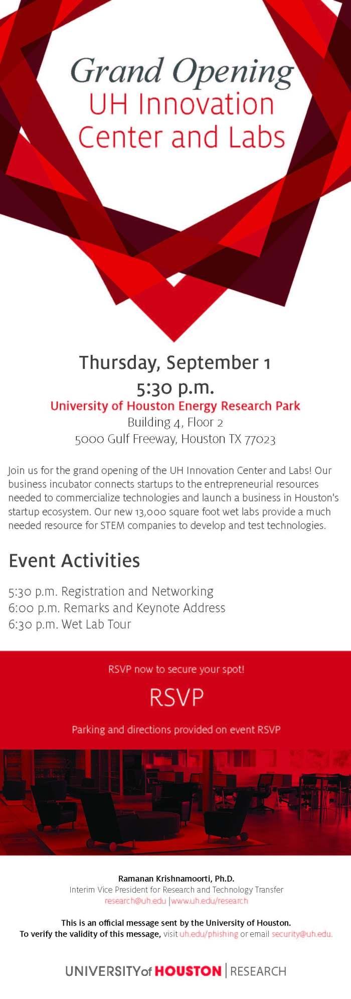 Innovation Center Grand Opening Invitation