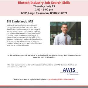 GSBS Career Development Series: Biotech Industry Job SearchSkills