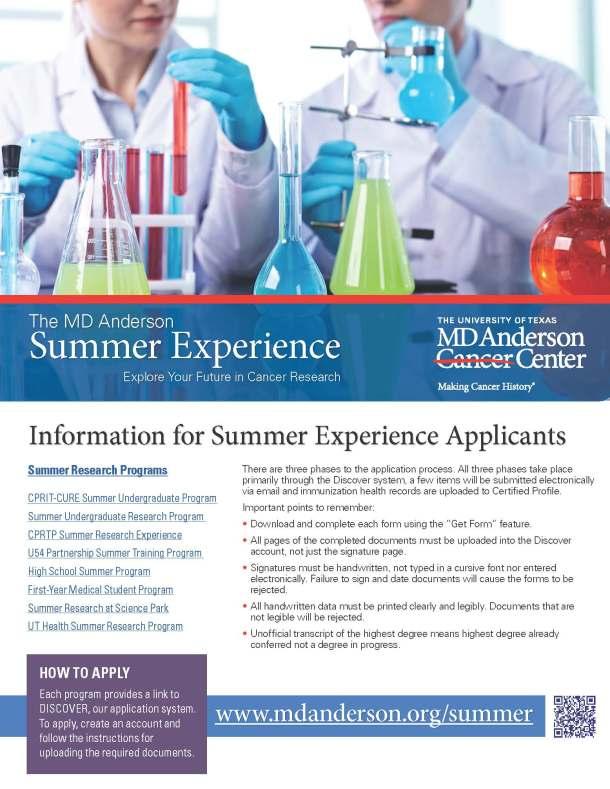 MD Anderson-SummerExperienceFlier_2016