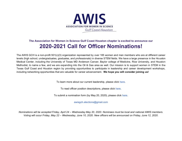 2020-2021 Call for Nominations - ONLINE Flyer